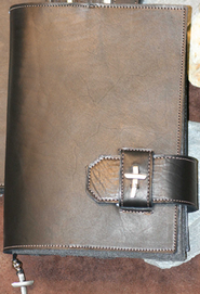 Leather Bible Cover with Cross, Black, Extra Large  -