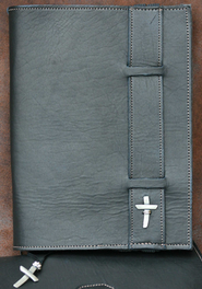 Strap Leather Bible Cover, Black, Extra Large  -
