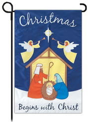 Christmas Begins with Christ, Garden Flag   -