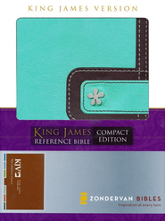 King James Version Compact Reference Bible, Italian Duo-Tone, Turquoise/Chocolate - Imperfectly Imprinted Bibles  -