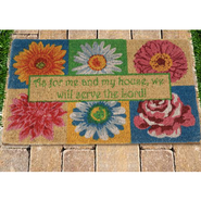 As for Me and My House--Bright Floral Coir Welcome Mat  -