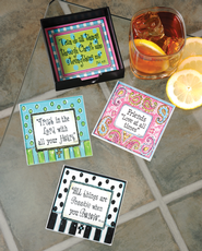 Glass Coaster Set with Wooden Holder   -