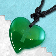 Heart Pendant with Cross, Green   -
