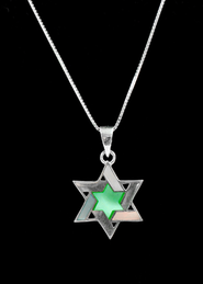 Mother-of-Pearl Star of David, Sterling Silver Pendant   -