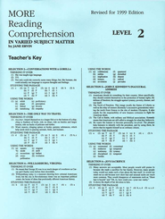 More Reading Comprehension Key Level 2, Grade 10   -     By: Jane Ervin