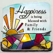 Happiness is Being Blessed Glass Tea Light Holder  -
