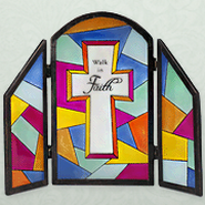Walk in Faith Glass Decorative Plaque  -