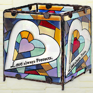 Love Always Protects Glass Candle Holder  -