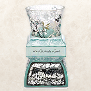 In Memory Crackled Glass and Ceramic Tea Light Holder  -