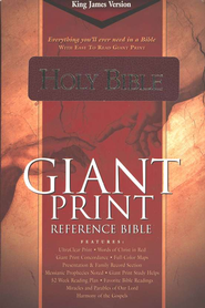 KJV Giant-Print Reference Bible, Imitation leather burgundy, thumb-indexed  -
