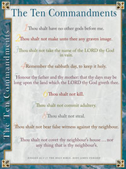 KJV Ten Commandments, Laminated Wall Chart   -