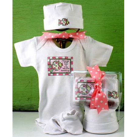 Christian baby girl outfit gift set
