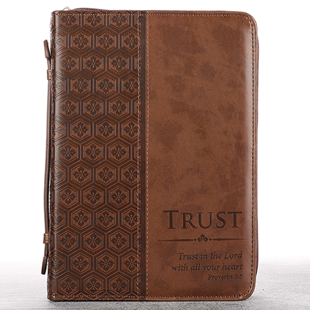 Brown leather like men's Bible cover