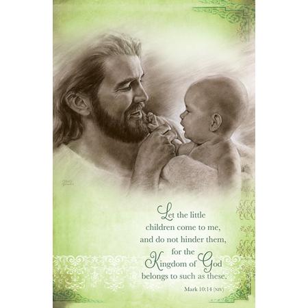 Jesus holding baby dedication bulletins