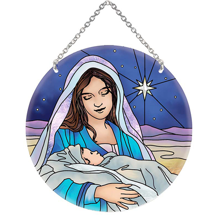 Mary Jesus stained glass sun catcher