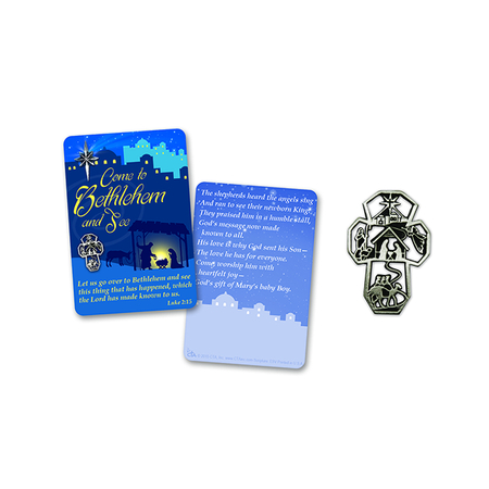 Christmas manger scene pin on gift cards