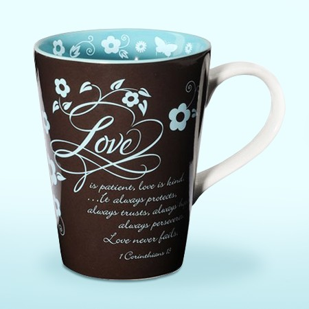Love, Virtues Mug, Brown and Blue - - Christianbook.com :  encouraging faith home butterfly