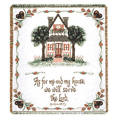 Christian my house Bible verse me and my house blanket