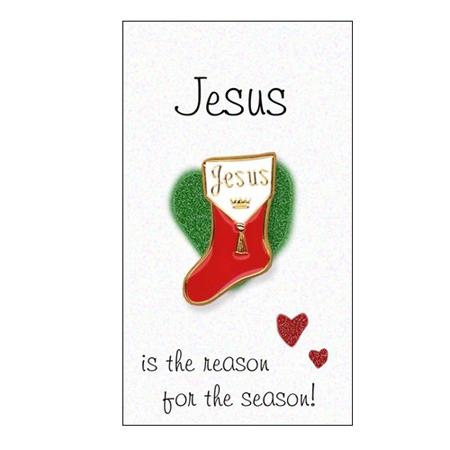 Jesus Christmas stocking pin