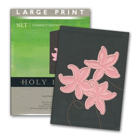 Leather like Bible gray and pink floral cover large print