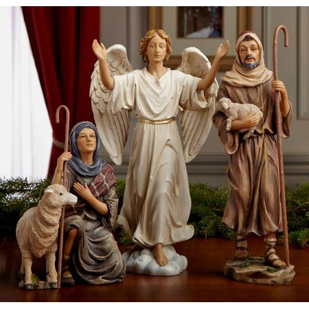 Life like Nativity angel and shepherds set