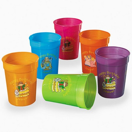 Happy Birthday Jesus plastic tumblers