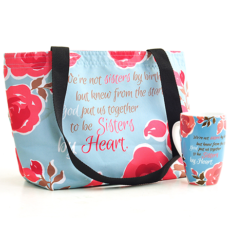 Christian sister in faith bag mug gift set