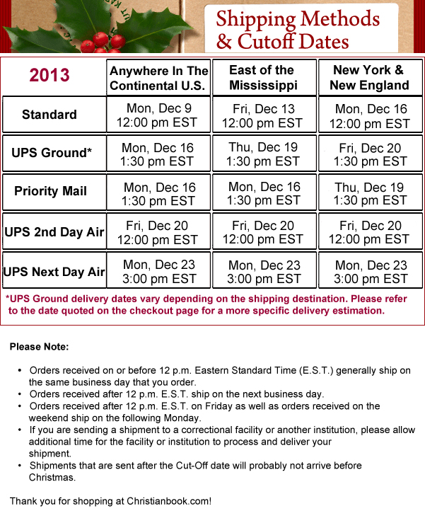 2013 Shipping Methods and Cutoff Days