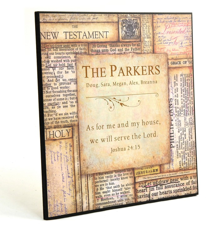Personalized, As For Me and My House Bible Plaque  Square