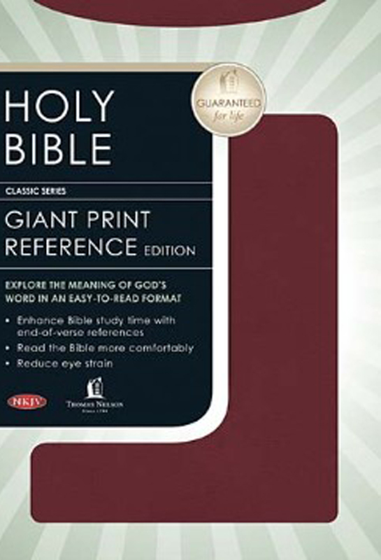 NKJV Personal Size Giant Print Reference Bible, Burgundy  Imitation Leather