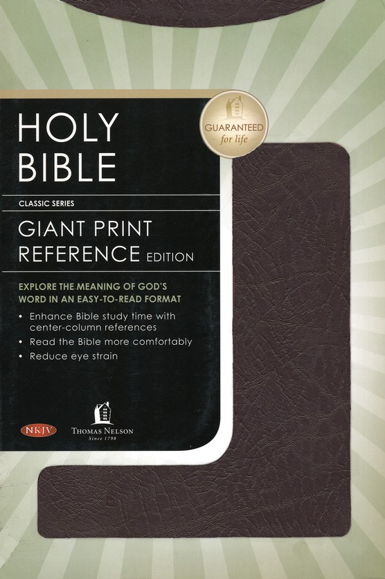 NKJV Giant Print Center-Column Reference Bible, Bonded leather, burgundy