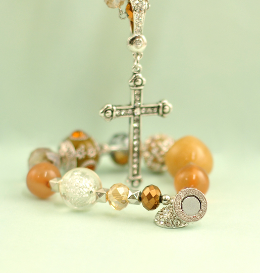 Magnetic Necklace, Sand with Cross Enhancer