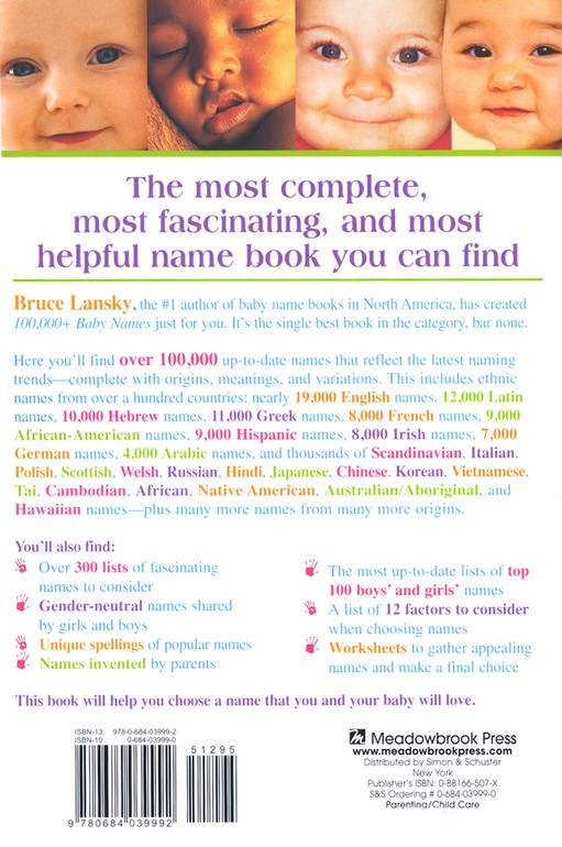 100,000+ Baby Names: The Most Complete Baby Name Book