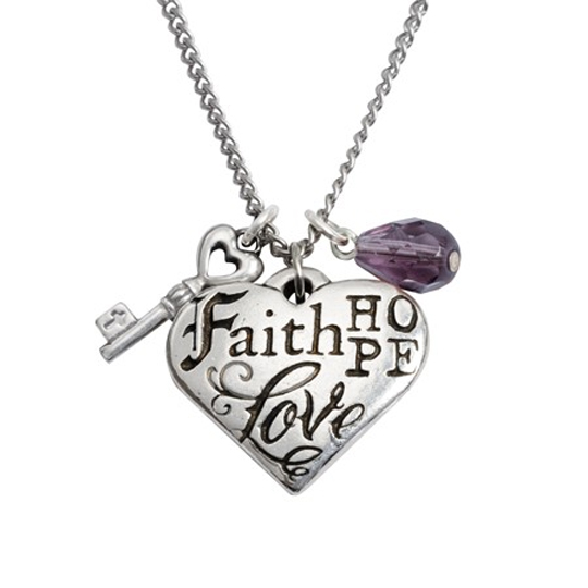 Faith, Hope, Love, 1 Corinthians 13:13 Pendant