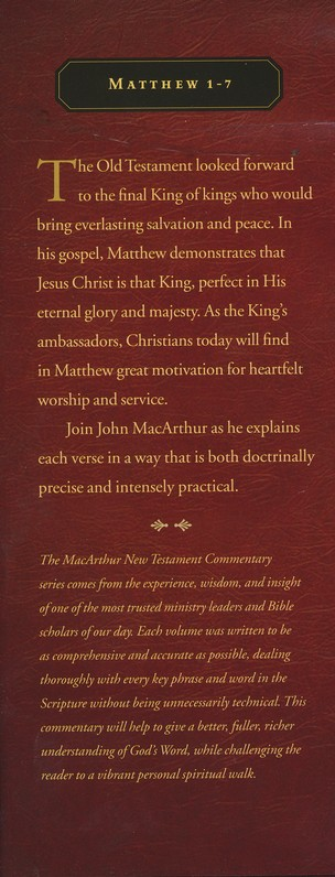 Matthew 1-7: The MacArthur New Testament Commentary