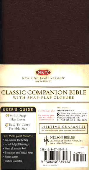 NKJV Classic Compact Bible, Bonded Leather with snap