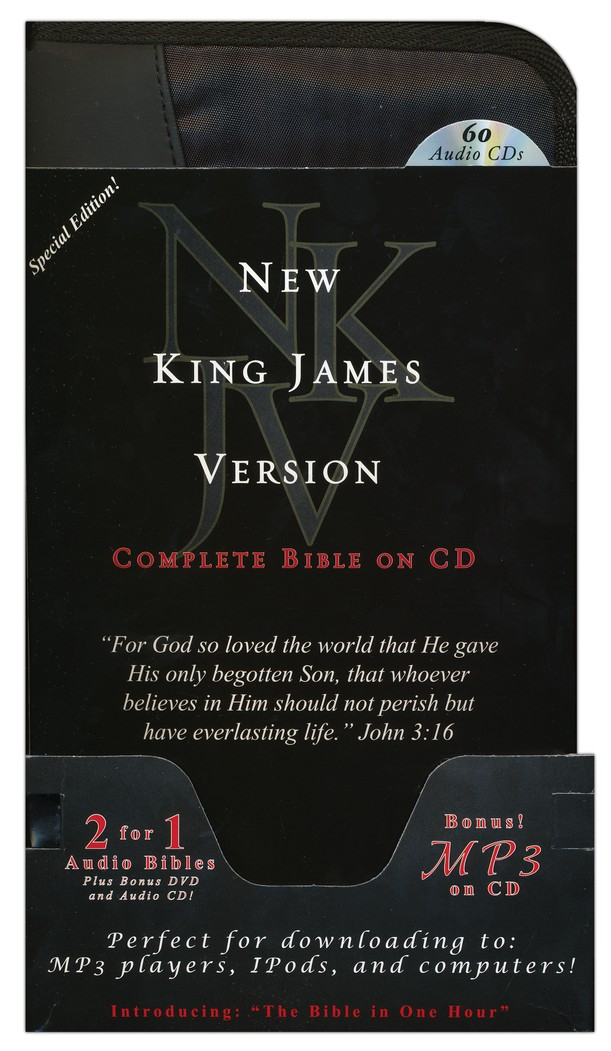 NKJV Special Edition Complete Audio Bible with Value Pack Bonus: MP3 Bible, Bible in One Hour CD, & Indestructible Book DVD