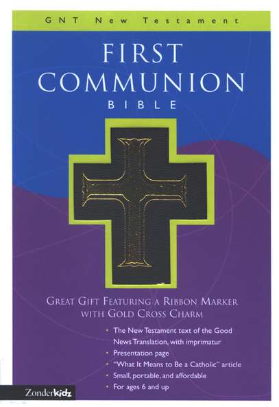 First Communion Bible, GNT New Testament, Black Leather-look  - Slightly Imperfect