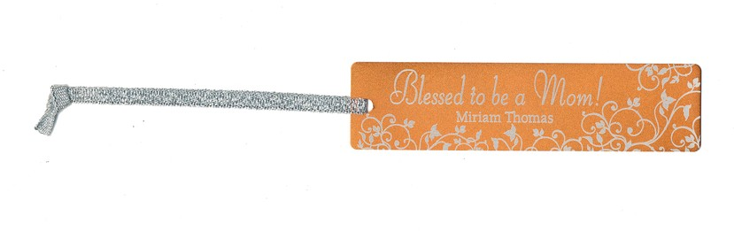 Personalized, Blessed to be a Mom Bookmark, Orange