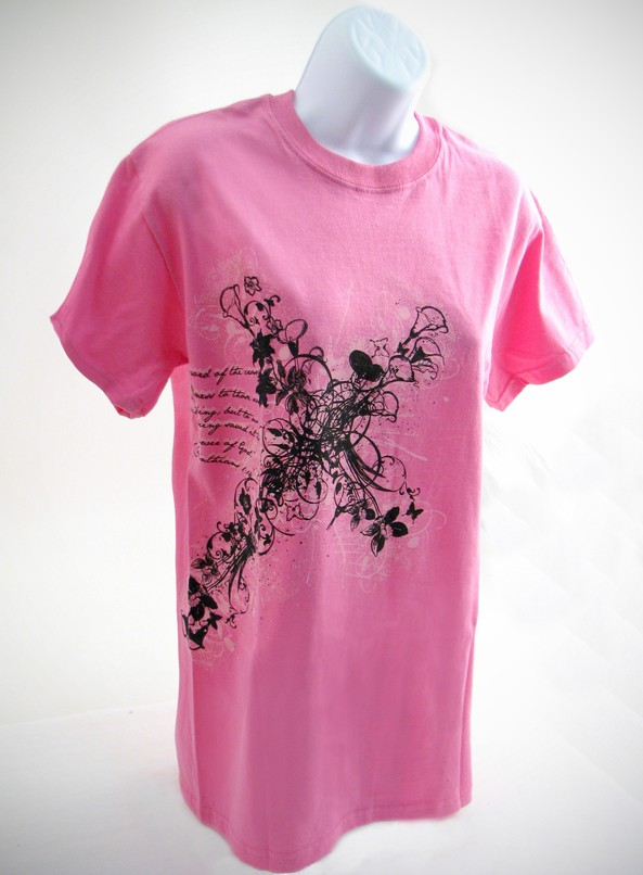 Flower Cross Shirt, Pink, XX Large