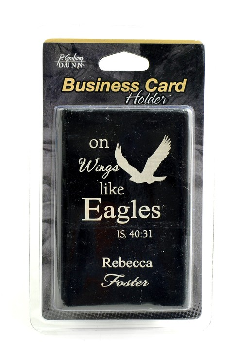 Personalized, Metal Business Card Holder, Like Wings On Eagles, Black