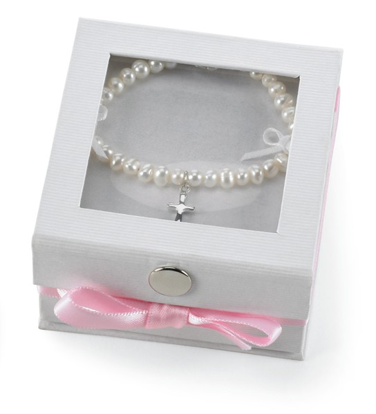 Baby's Fresh Water Pearl Bracelet with Cross