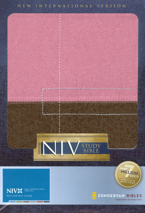NIV (1984) Study Bible, Italian Duo-Tone, Berry Cream/Chocolate