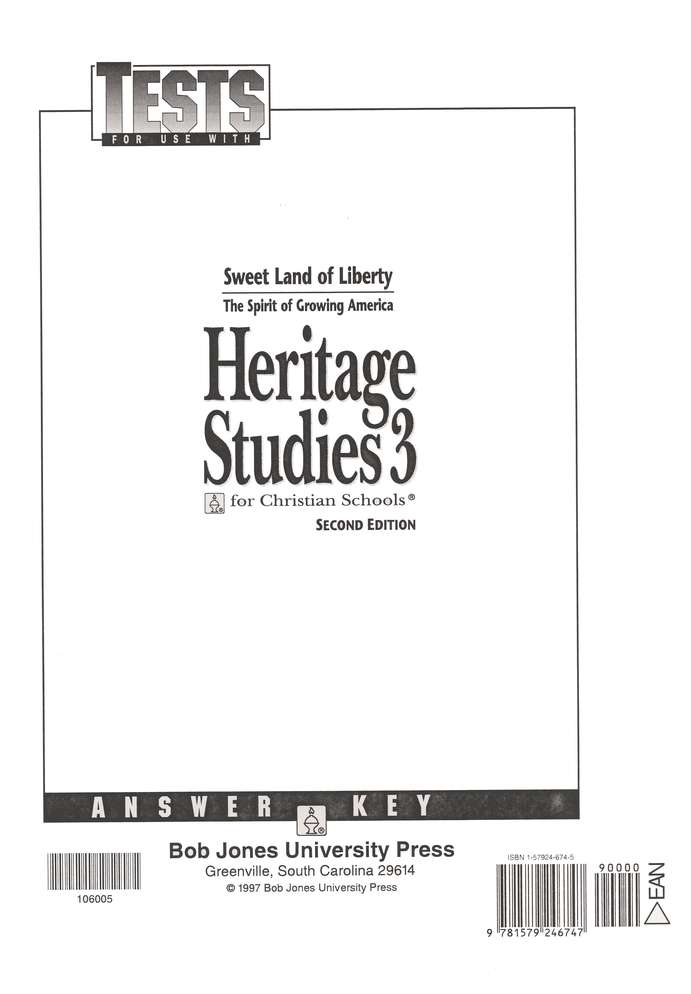 Heritage Studies 3, Tests Answer Key