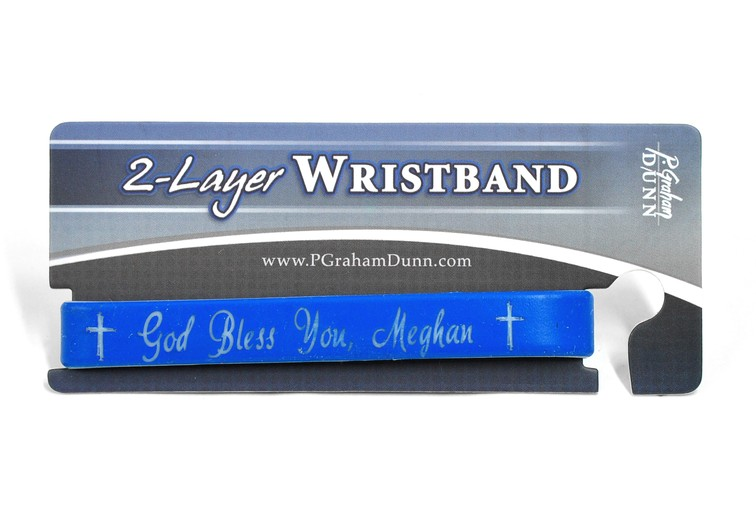 Personalized, God Bless You, Wristband, Script, Blue