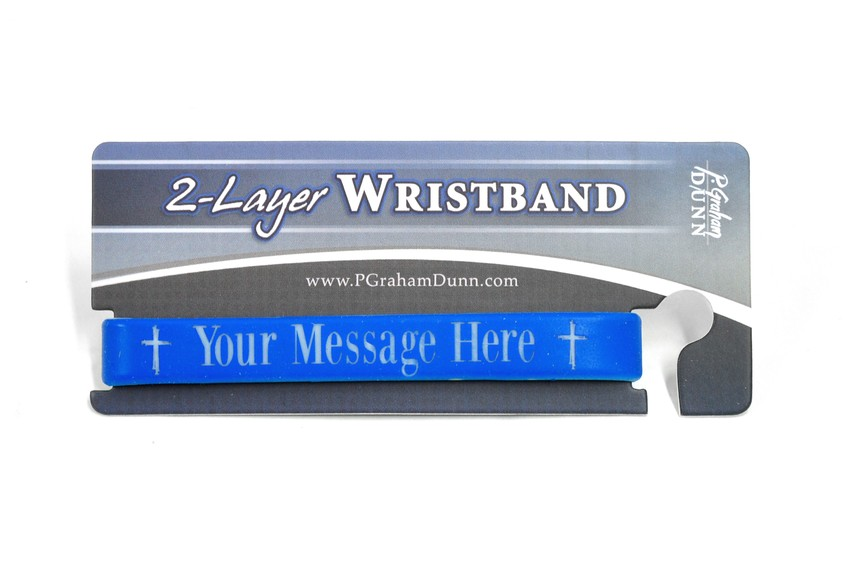 Personalized, Your Message Here, Wristband, Bold, With Cross, Blue