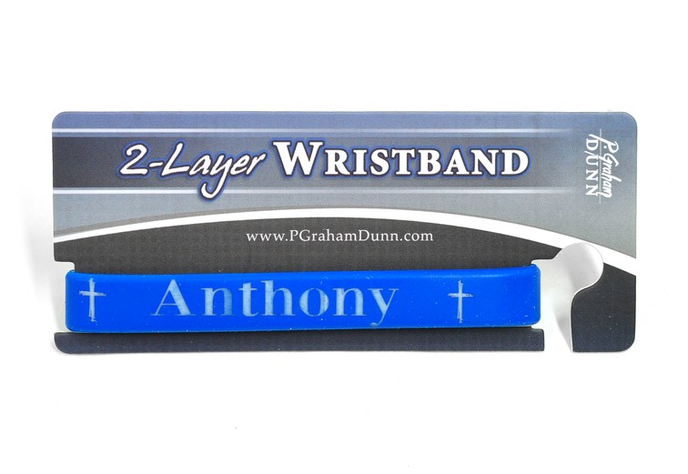 Personalized, Name in Bold, Wristband, With Cross, Blue