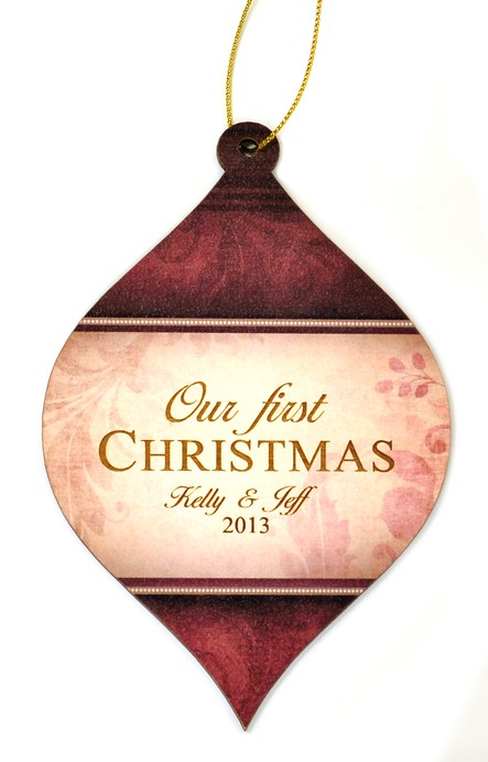 Personalized, Bulb Ornament, Red, Our First Christmas
