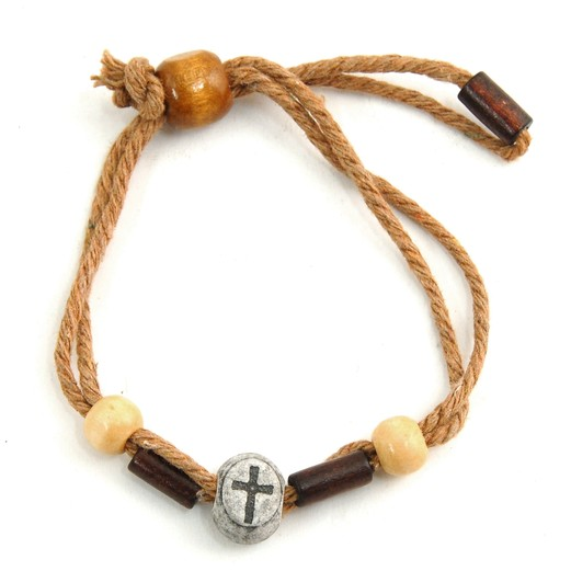 Jute & Wood Cross Bracelet