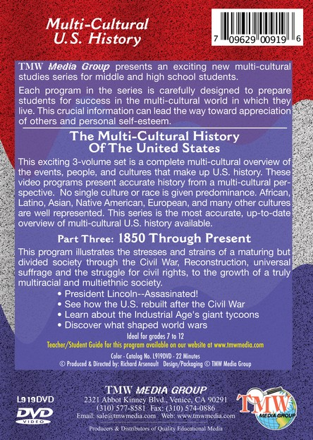 Multi-Cultural History of the United States Part 3: 1850 through Present Day DVD